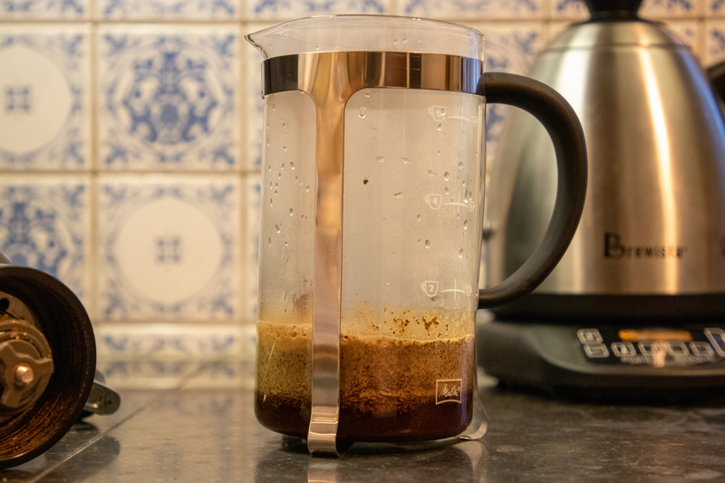 French press: pre-infusie