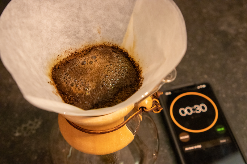 Chemex preinfusie timing