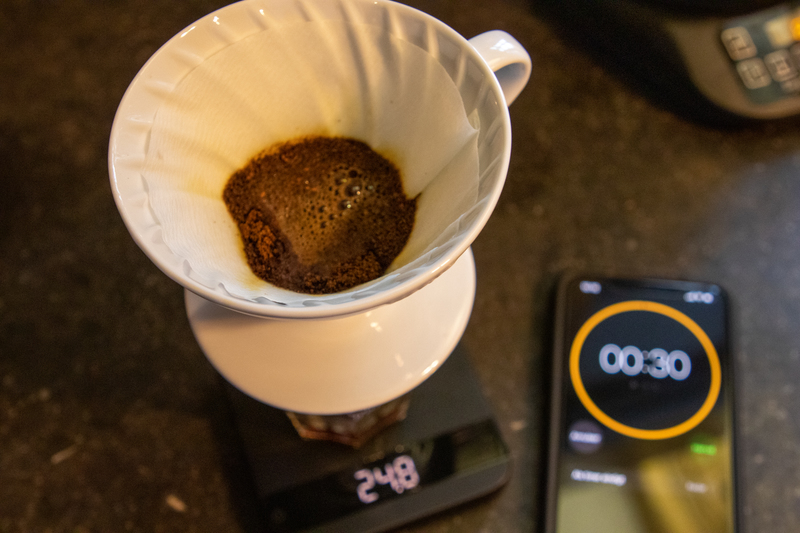 Hario V60 preinfusie timing